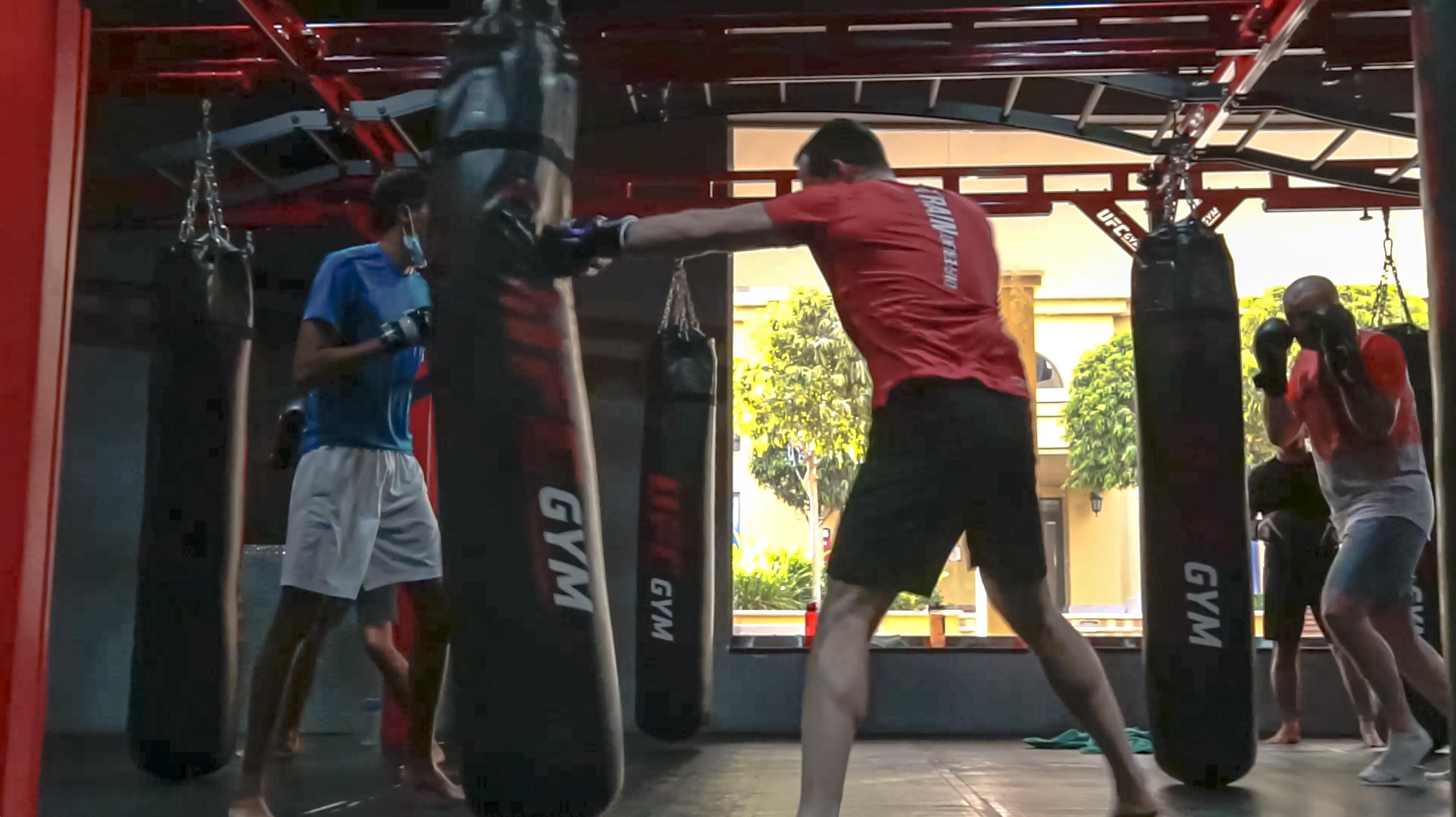 Member practicing kickboxing